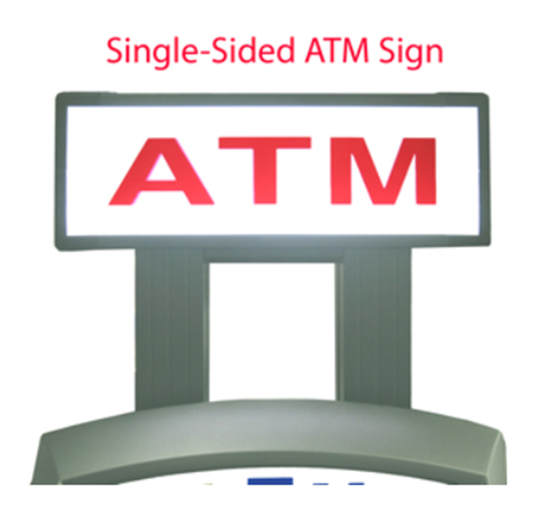 Standard one sided topper for Hantle and Genmega machines, lighted to increase your ATM's visibility.