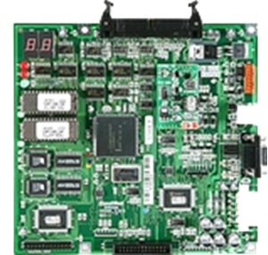 Main controller board for all older style cash dispensers including 1000 note, 2000 note, 4000 note, 6000 note, and 8000 note. This has a 9-Pin serial port only - view 1