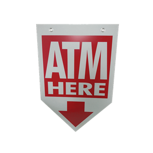 ATM Coroplast Sign - Arrow Shaped