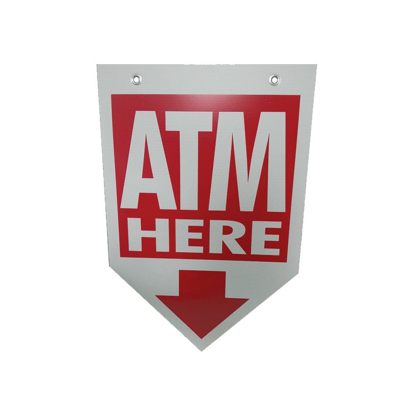 ATM Coroplast Sign - Arrow Shaped