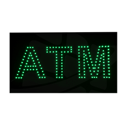Turned on ATM LED Sign - Green ATM Block Letter