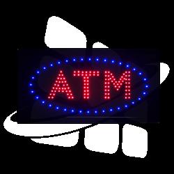 Turned on ATM LED Sign - Double LED ATM Letter