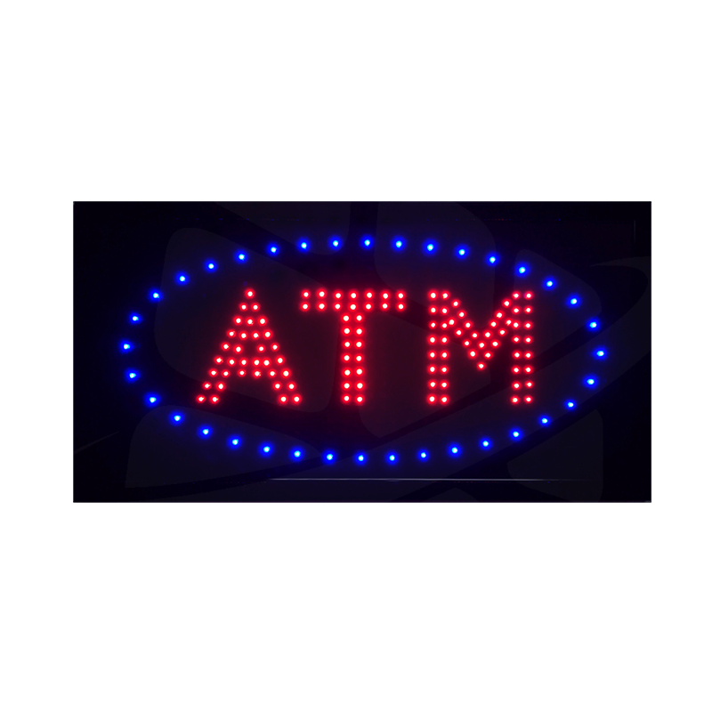 Turned on ATM LED Sign - Double LED ATM Letter